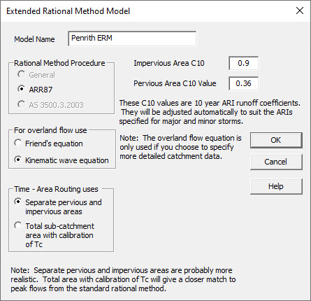 Screenshot of Extended Rational Method Model window