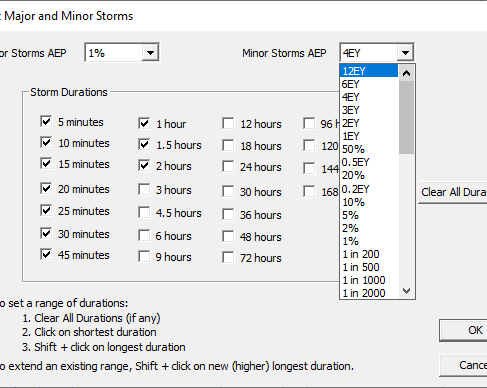 Screenshot of Select Major and Minor Storms window in DRAINS software