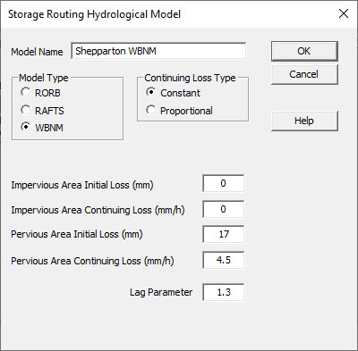 Screenshot of Storage Routing Hydrological Model window